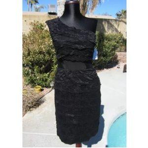 Jessica Simpson one shoulder black lace dress
